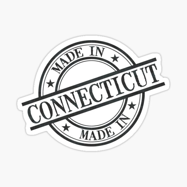 Made In Connecticut Stamp Style Logo Symbol Black Sticker