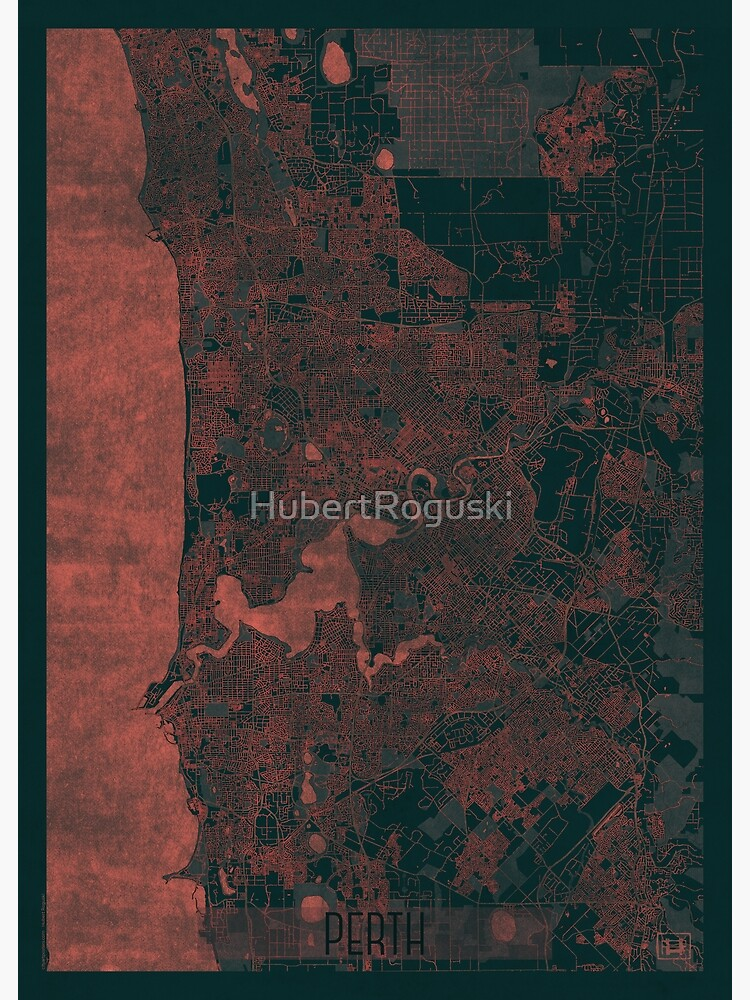 Perth Map Red by HubertRoguski