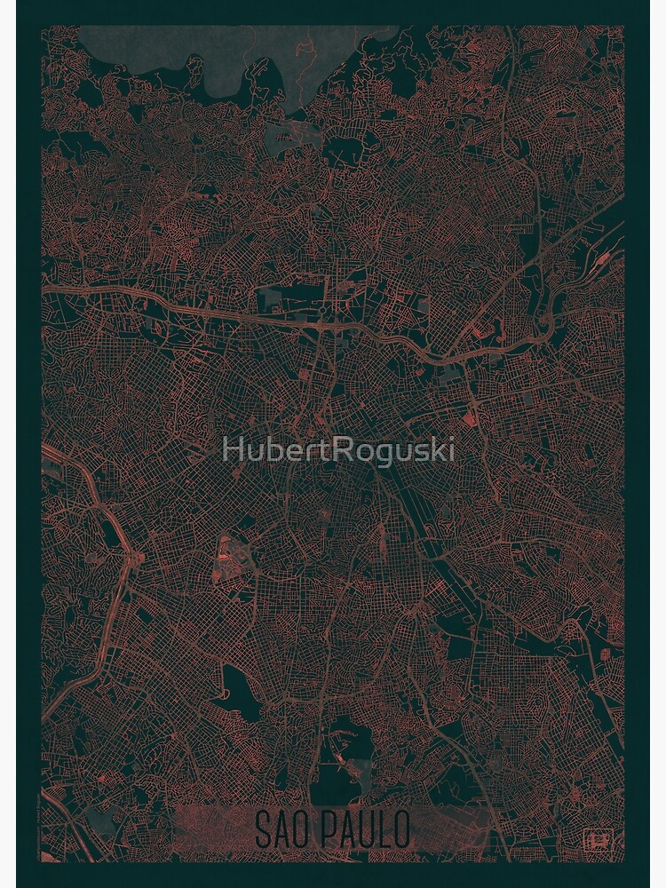 Sao Paulo Map Red by HubertRoguski