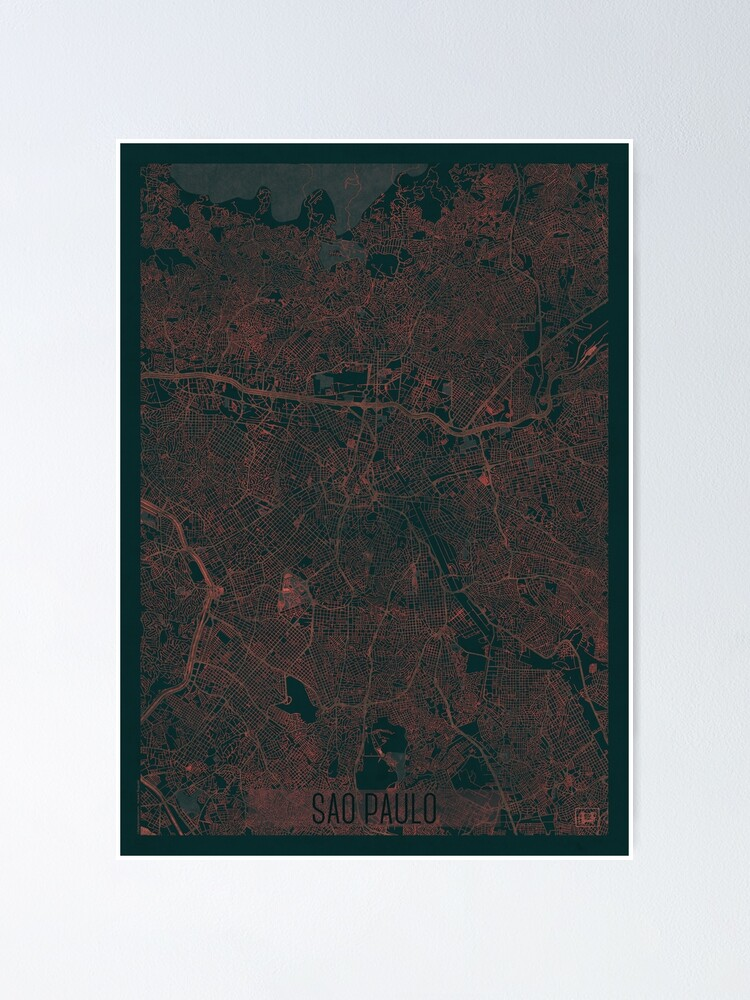 Alternate view of Sao Paulo Map Red Poster