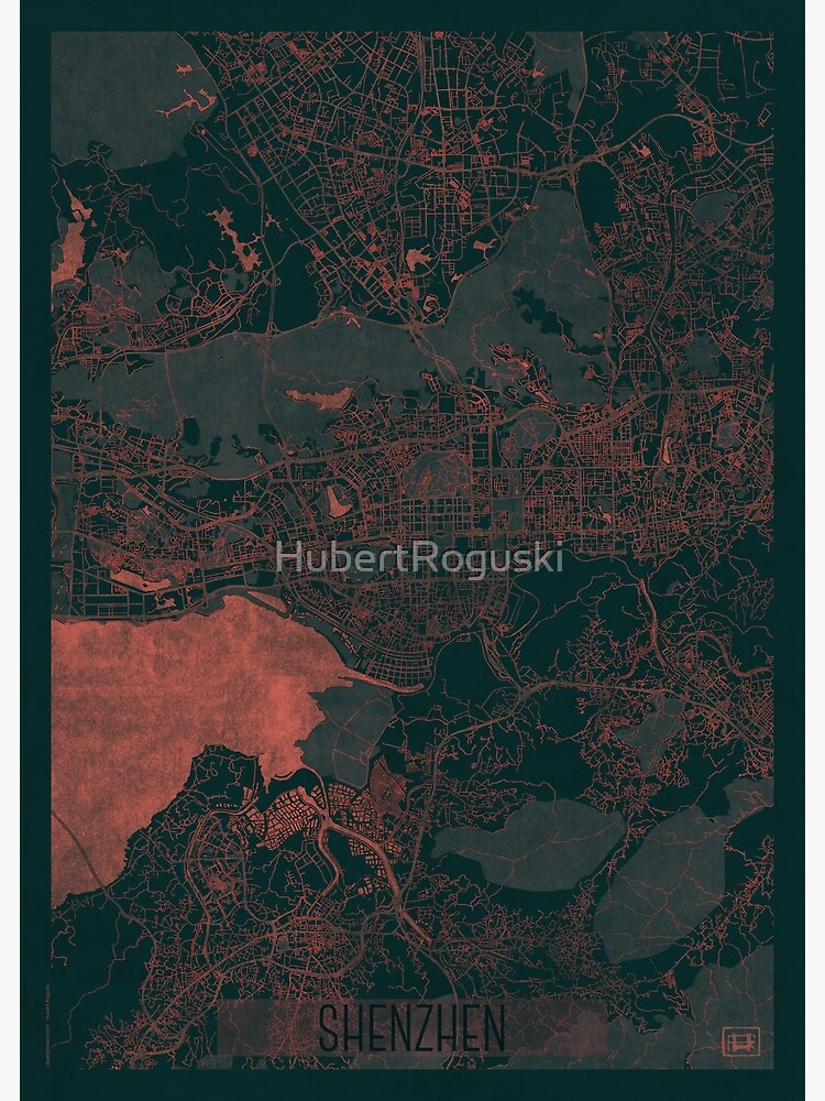 Shenzhen Map Red by HubertRoguski