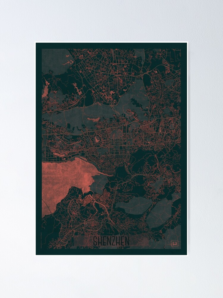 Alternate view of Shenzhen Map Red Poster