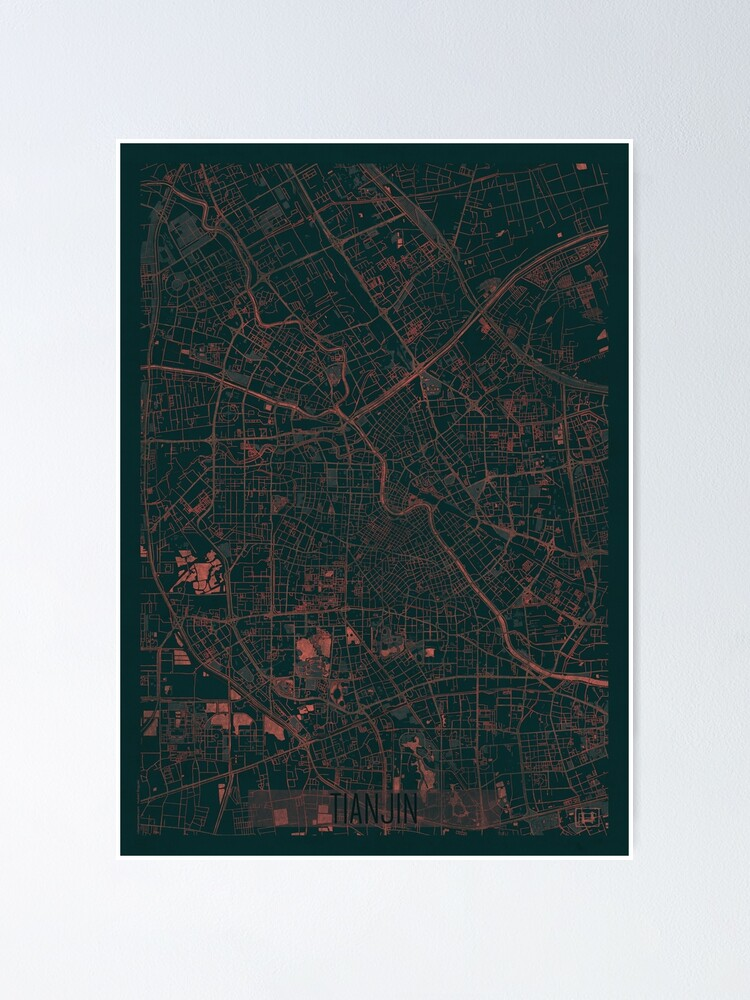 Alternate view of Tianjin Map Red Poster