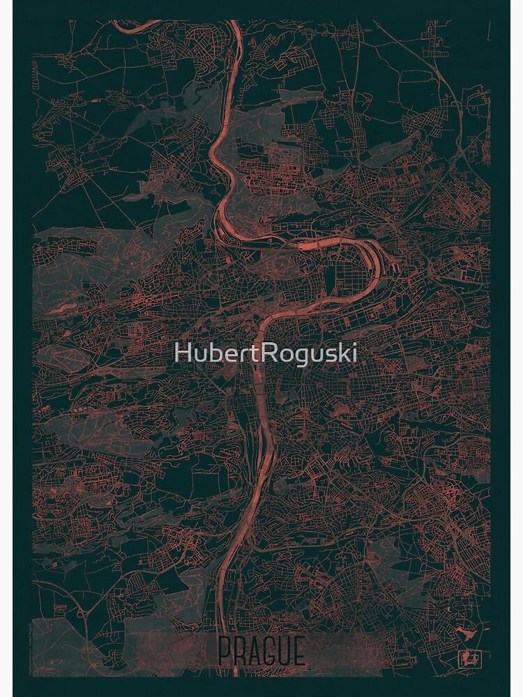 Prague Map Red by HubertRoguski