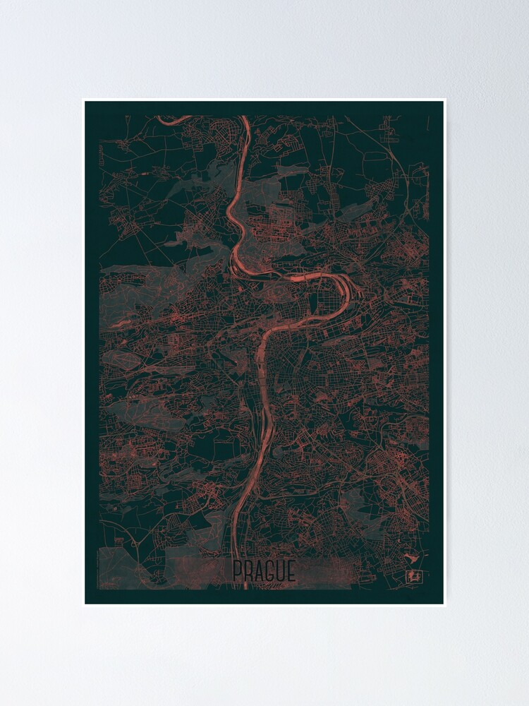 Alternate view of Prague Map Red Poster