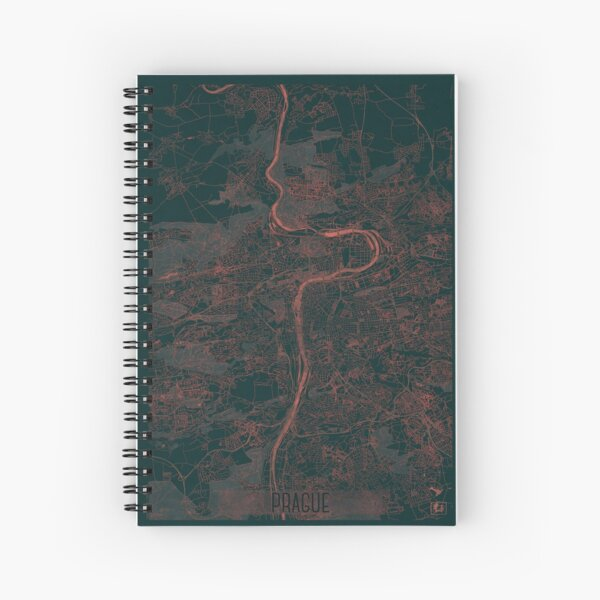 Prague Map Red Spiral Notebook