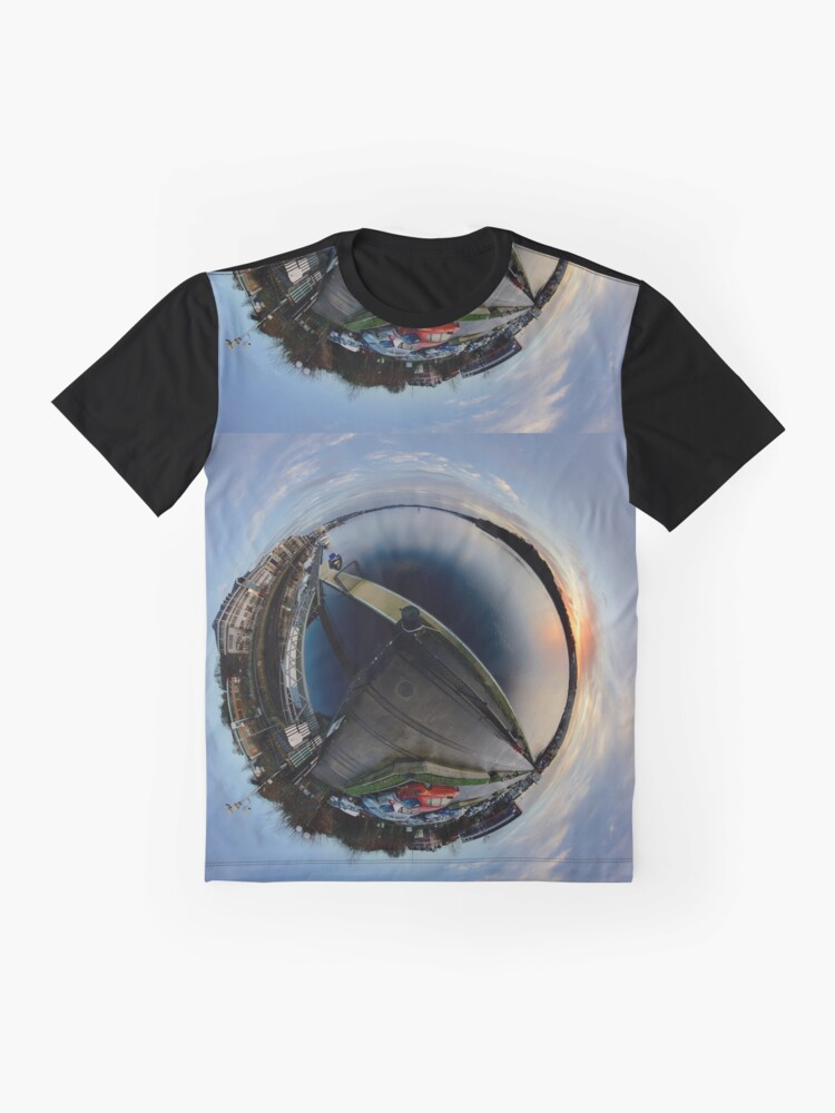 Alternate view of Foyle Marina at Dawn, Stereographic Graphic T-Shirt