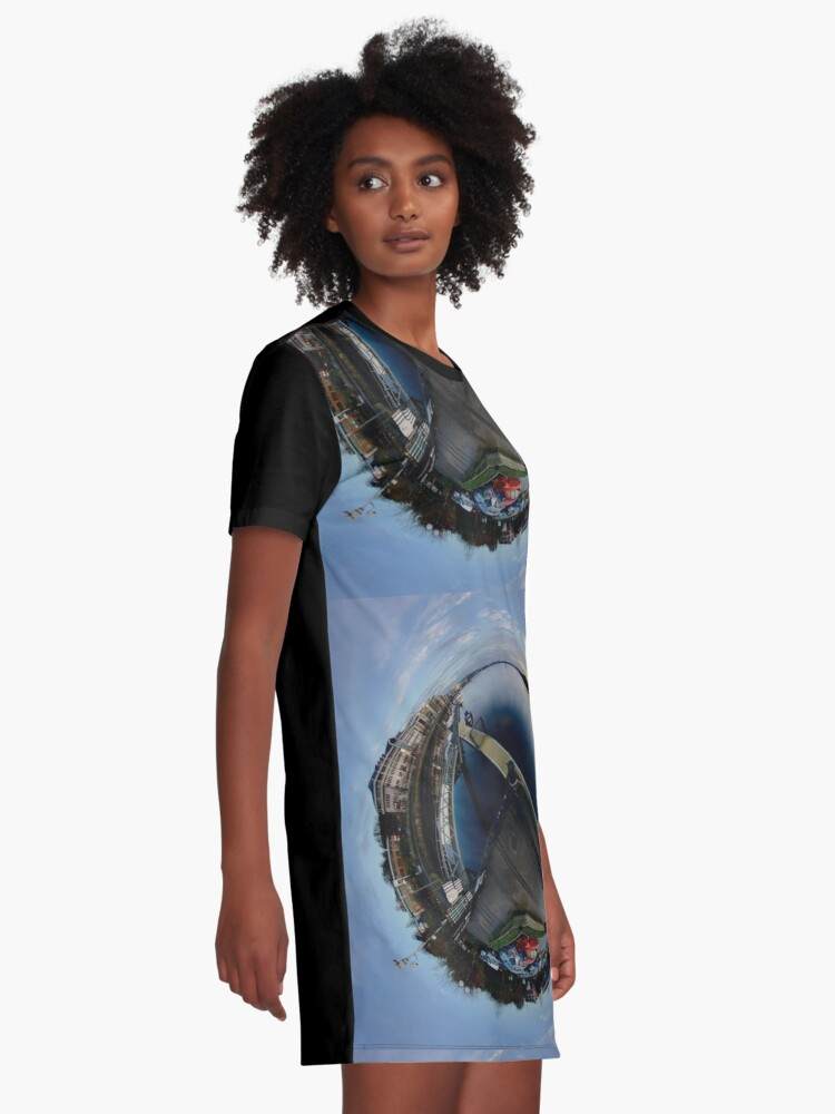 Alternate view of Foyle Marina at Dawn, Stereographic Graphic T-Shirt Dress