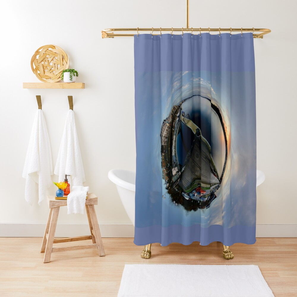 Foyle Marina at Dawn, Stereographic Shower Curtain