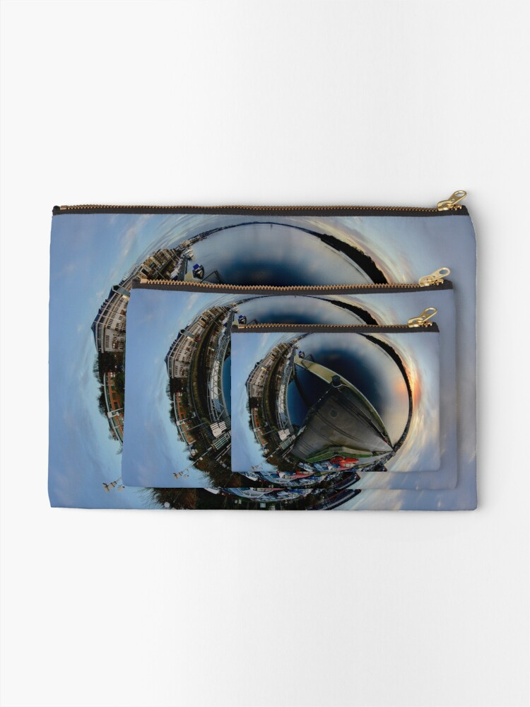 Alternate view of Foyle Marina at Dawn, Stereographic Zipper Pouch
