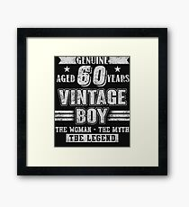 Aged 60 Years Vintage Boy T Shirt Framed Print