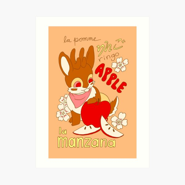 Jackalope and Apple Art Print