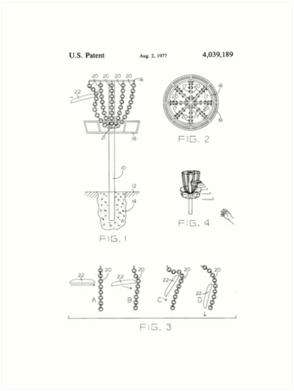 Disc Golf Korb Patent Design T Shirt Frisbee Golf Tee Kunstdrucke