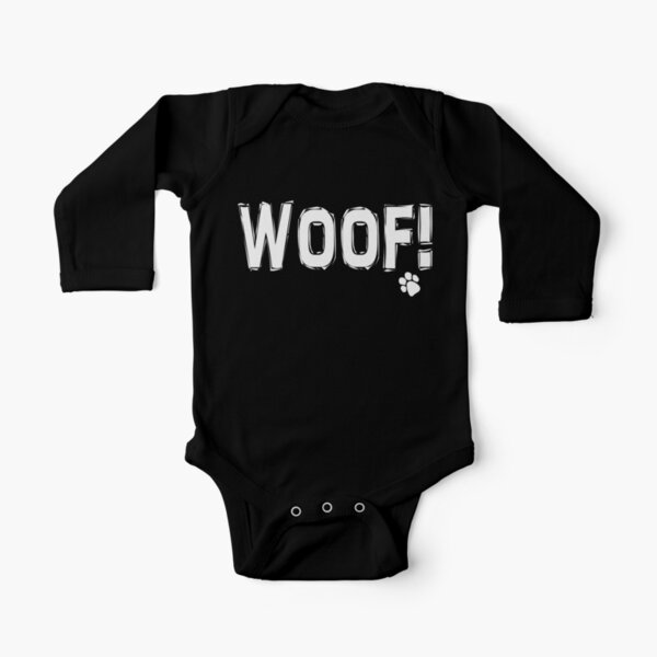 Woof! | Black and White |  Long Sleeve Baby One-Piece