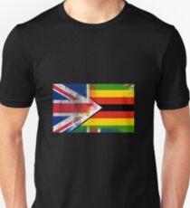Britische Simbabwe-halbe Simbabwe halb Großbritannien-Flagge Unisex T-Shirt