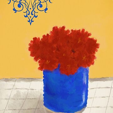 Red Mums in a Blue Pot by sfcount