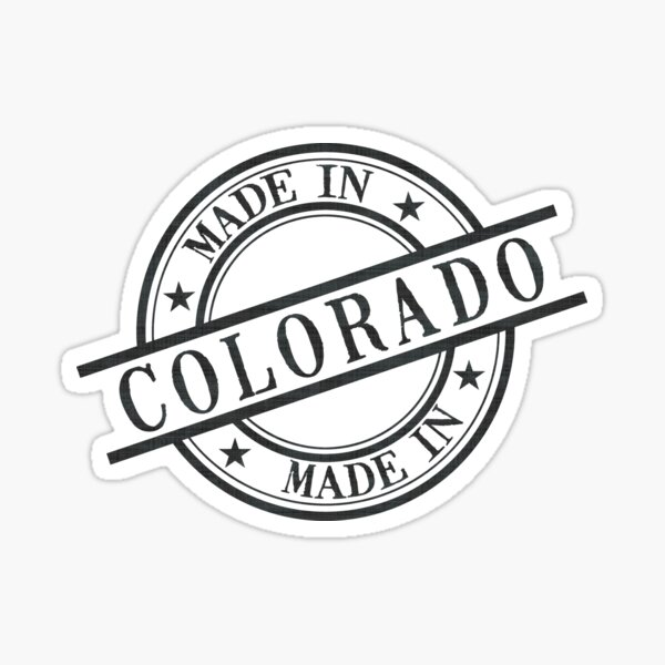 Made In Colorado Stamp Style Logo Symbol Black Sticker
