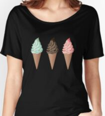 Three ice cream cones on different backgrounds. Women's Relaxed Fit T-Shirt