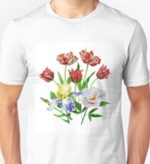 Bouquet with tulips, iris and peony Unisex T-Shirt