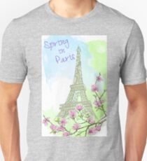 Watercolor drawing of Paris spring Unisex T-Shirt