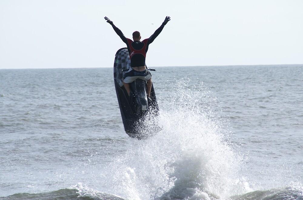 Guy in Ocean on Jet Ski by PennyLA