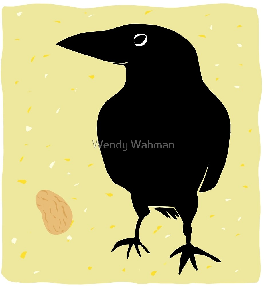 Crow with Peanut by Wendy Wahman