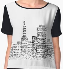 Graphic drawing of a city on a white background. Chiffon Top