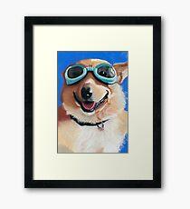 Corgi in Goggles Framed Print