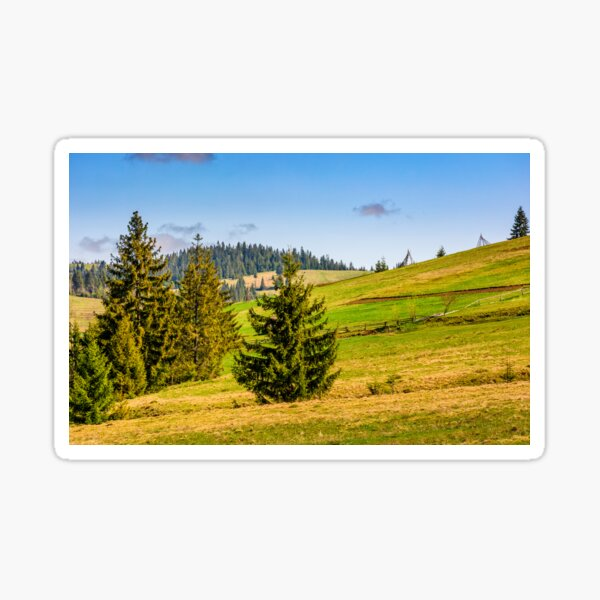 mountain rural area in late springtime Sticker