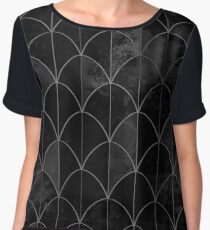 Mermaid scales. Black and white watercolor. Women's Chiffon Top