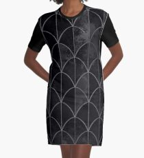 Mermaid scales. Black and white watercolor. Graphic T-Shirt Dress