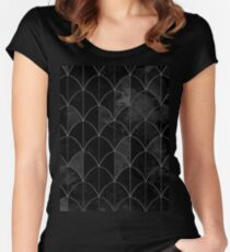 Mermaid scales. Black and white watercolor. Women's Fitted Scoop T-Shirt