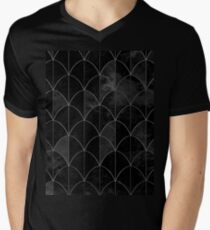 Mermaid scales. Black and white watercolor. Men's V-Neck T-Shirt