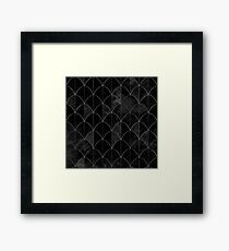 Mermaid scales. Black and white watercolor. Framed Print