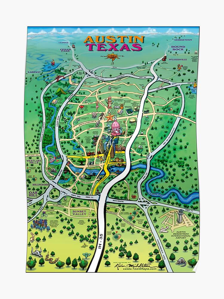 Austin Texas Cartoon Map | Poster on i-35 construction dallas, interstate 35 construction texas, i-35 freeway, i-35 minnesota, interstate 35 sign texas, i-35 interstate, i-35 traffic, esi-35 freeway texas, i-35 tolls, interstate highways in texas, interstate highway map of texas,