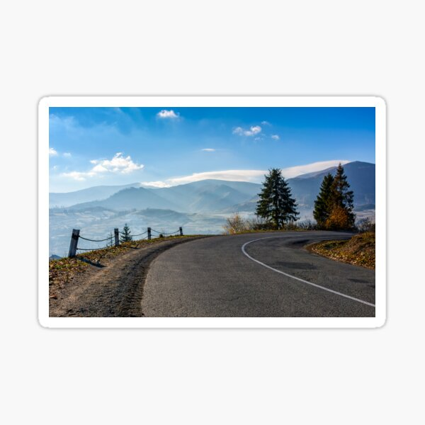 trees on serpentine in mountains at sunrise Sticker