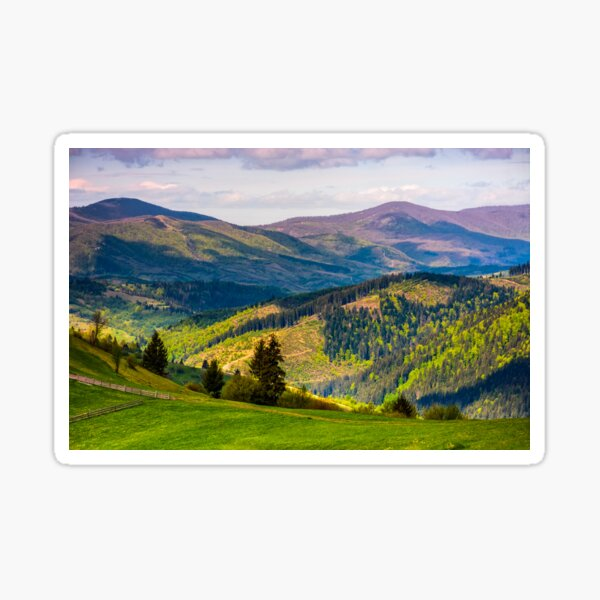 rural fields with fence on hills of Carpathians Sticker
