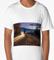 countryside road with car lights at night Long T-Shirt