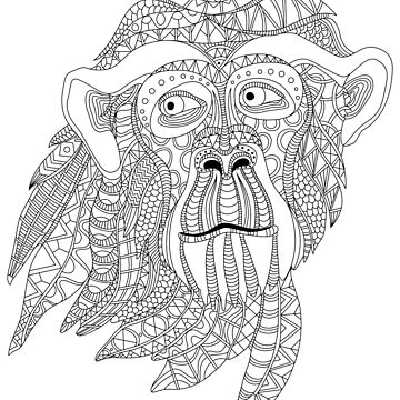 Monkey head portrait graphic vector illustration by LidiaP