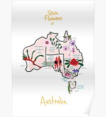 Australia State Flowers Map Poster