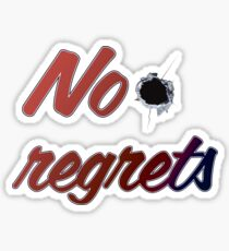 No regrets inscription bullet Hole bullet crime life Sticker