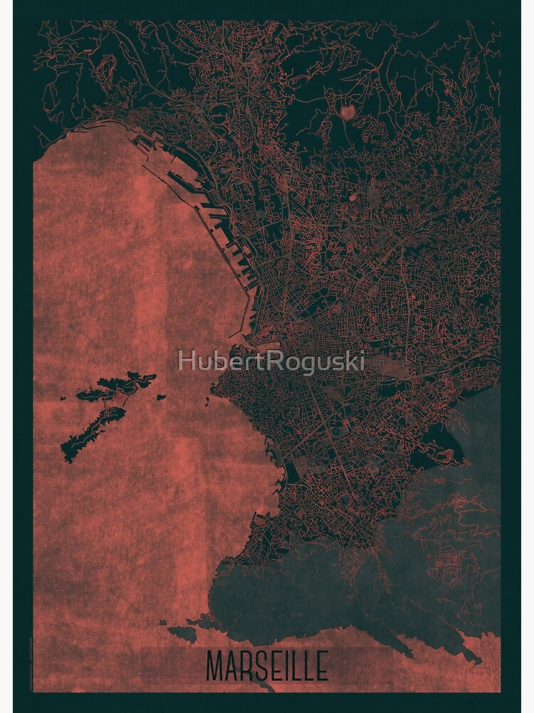 Marseille Map Red by HubertRoguski