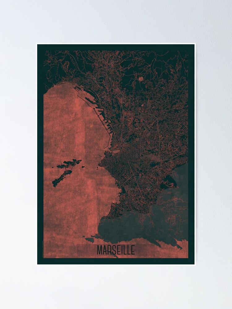 Alternate view of Marseille Map Red Poster