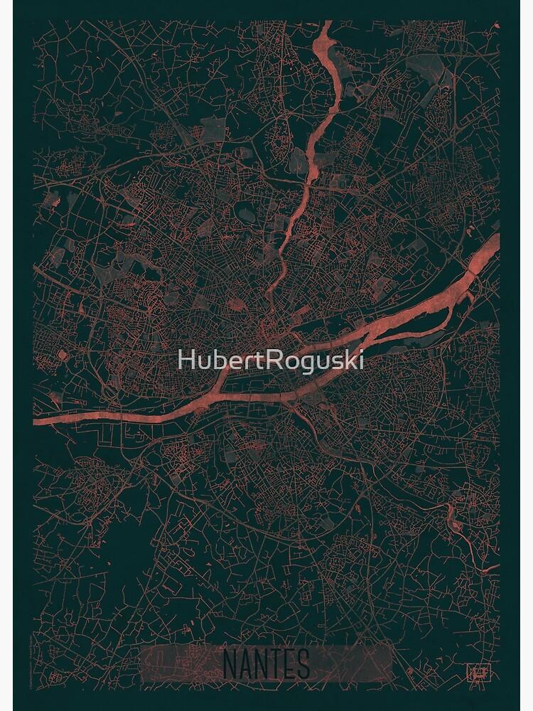 Nantes Map Red by HubertRoguski