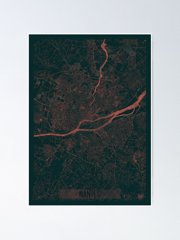 Alternate view of Nantes Map Red Poster