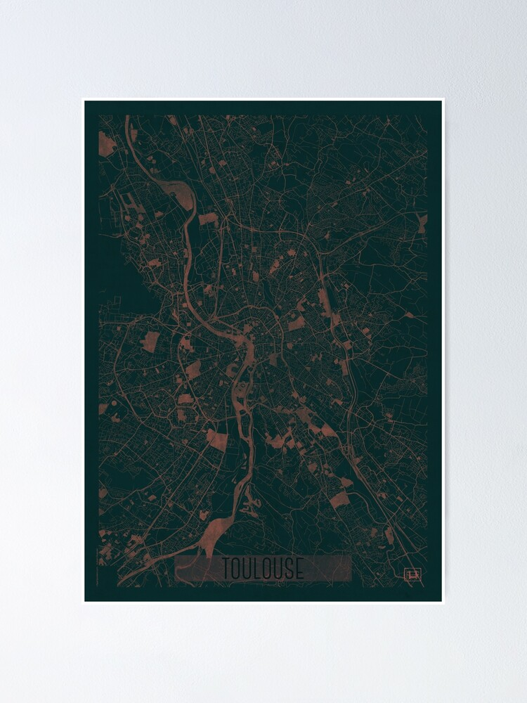 Alternate view of Toulouse Map Red Poster