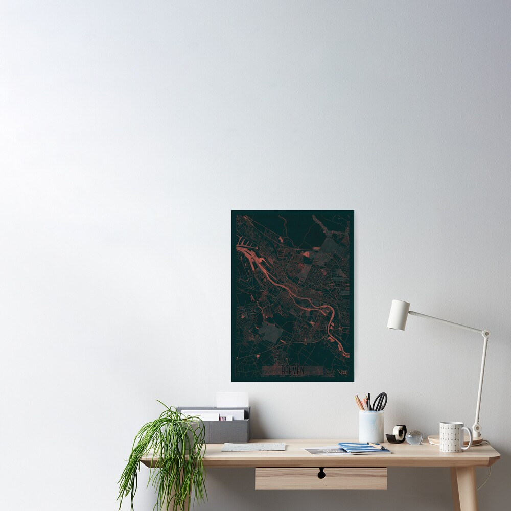 Bremen Map Red Poster