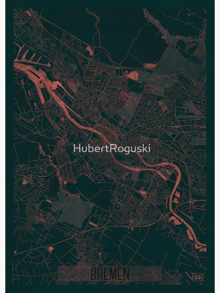 Bremen Map Red by HubertRoguski