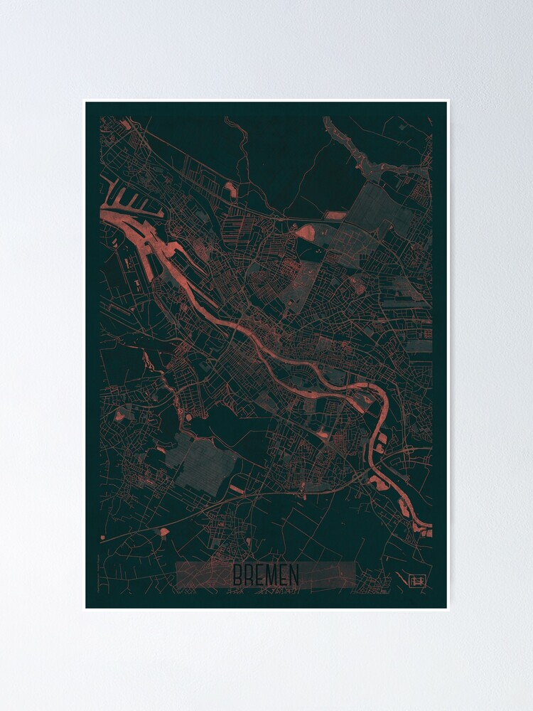 Alternate view of Bremen Map Red Poster