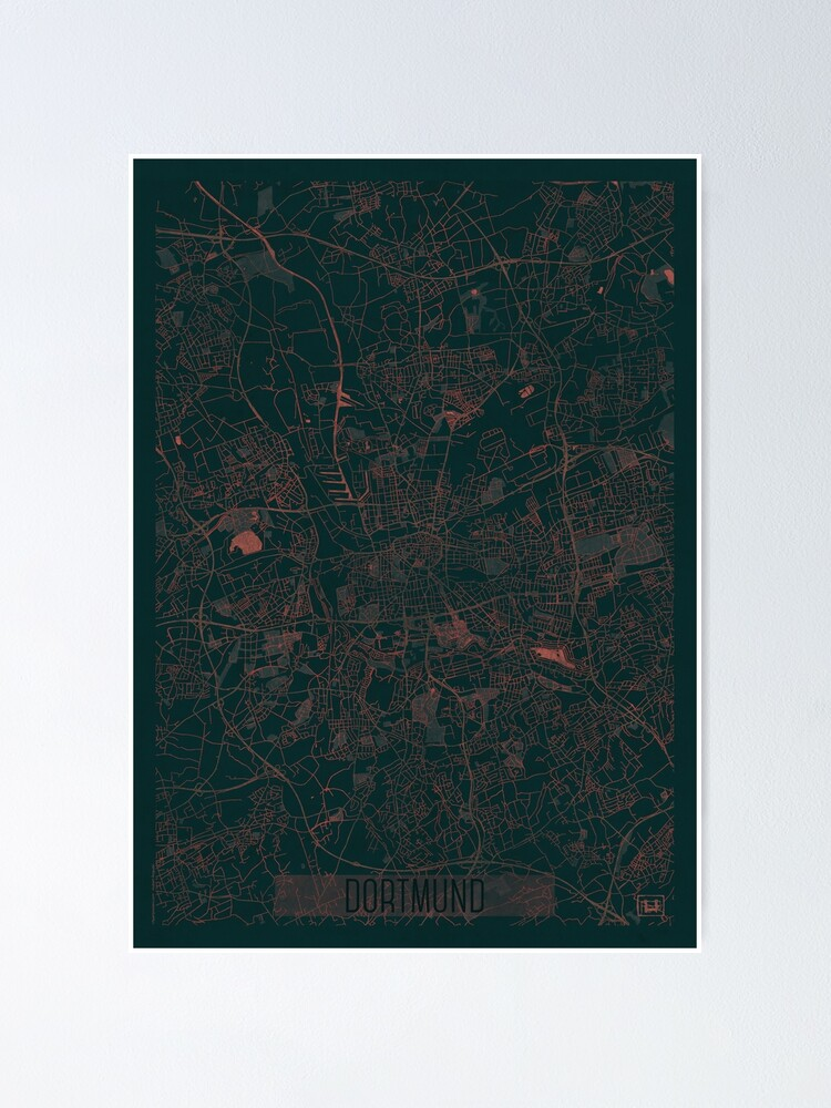 Alternate view of Dortmund Map Red Poster